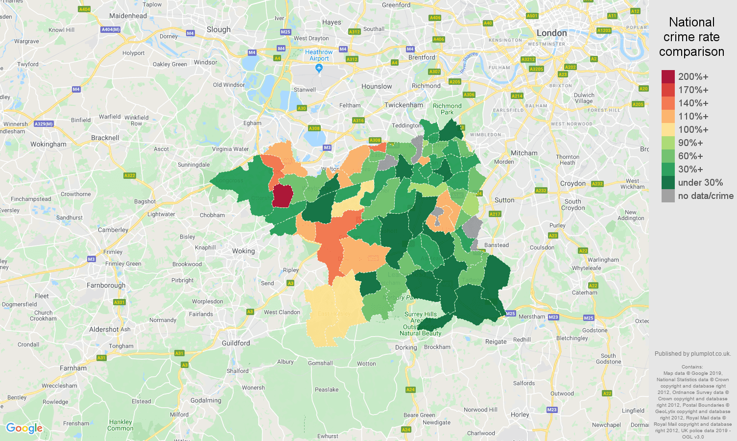 Kingston upon Thames other crime rate comparison map
