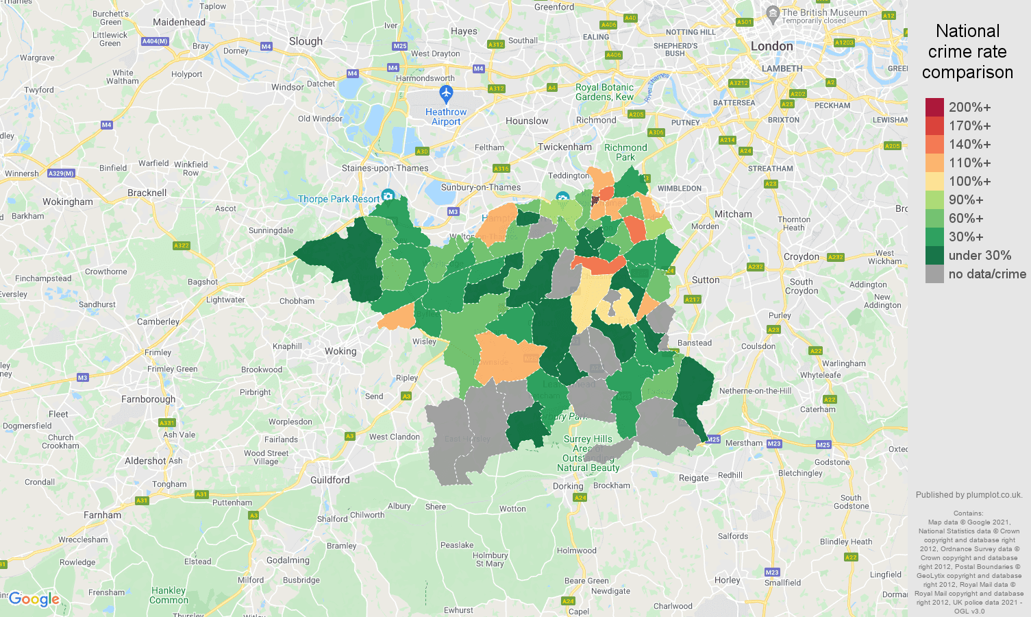 Kingston upon Thames robbery crime rate comparison map
