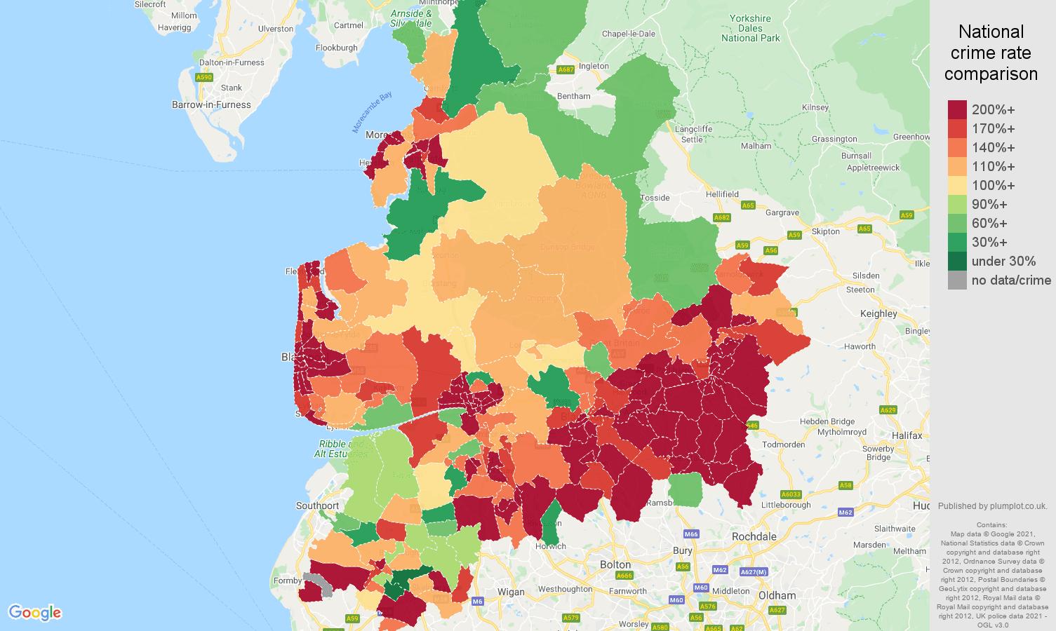 Lancashire antisocial behaviour crime rate comparison map