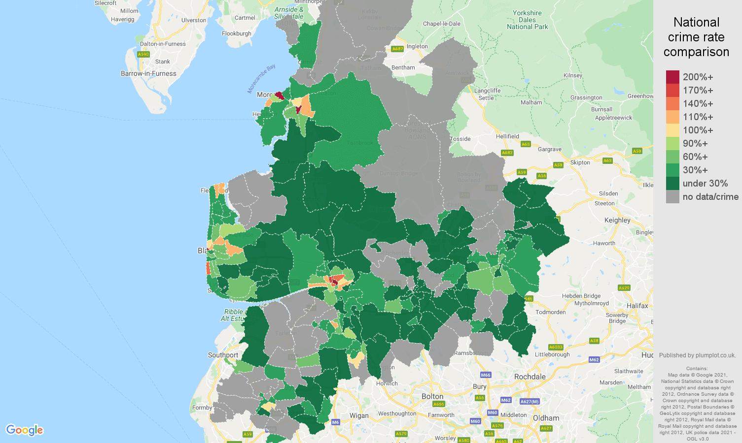 Lancashire bicycle theft crime rate comparison map