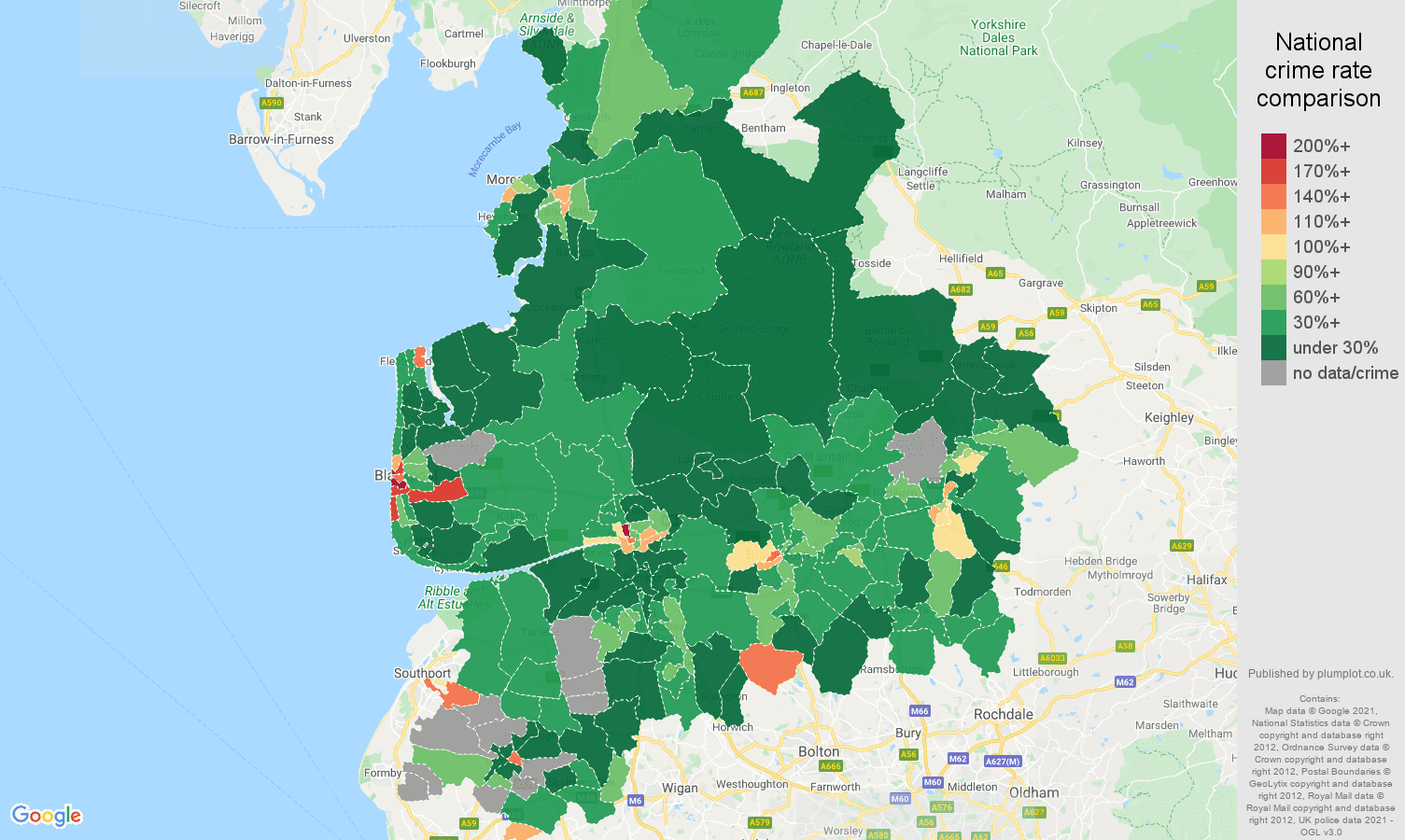 Lancashire drugs crime rate comparison map