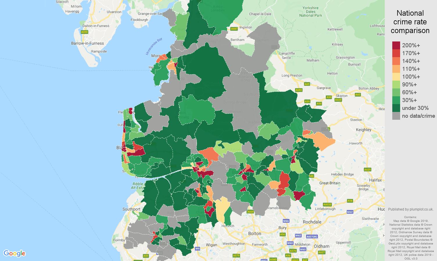 Lancashire shoplifting crime rate comparison map