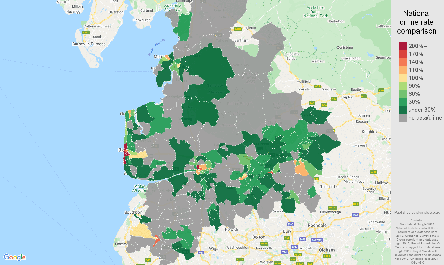 Lancashire theft from the person crime rate comparison map
