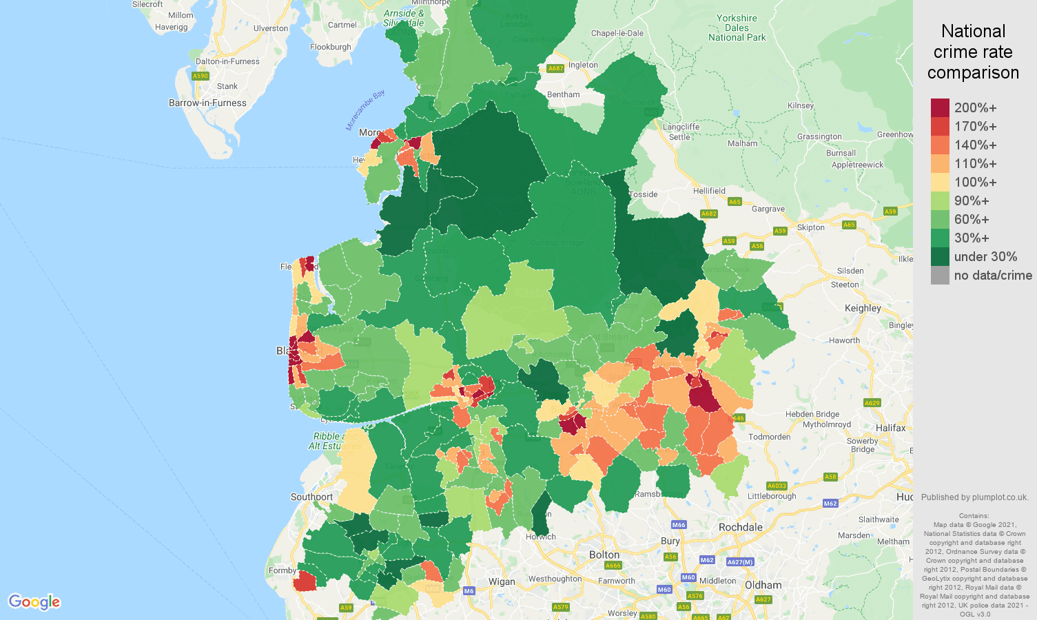 Lancashire violent crime rate comparison map