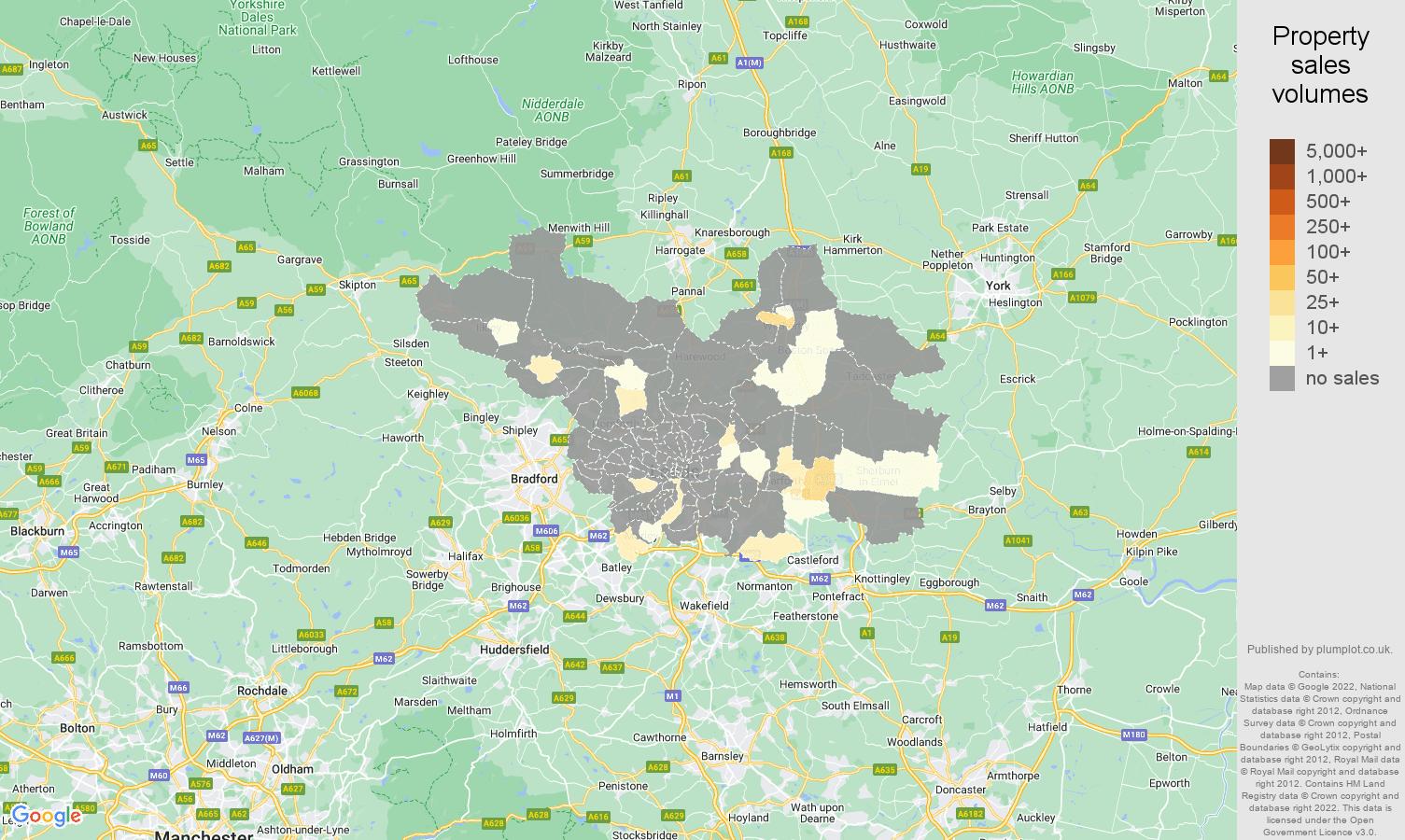 Leeds map of sales of new properties