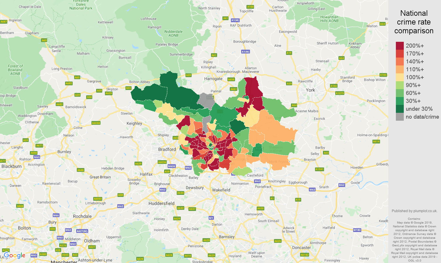 Leeds other crime rate comparison map