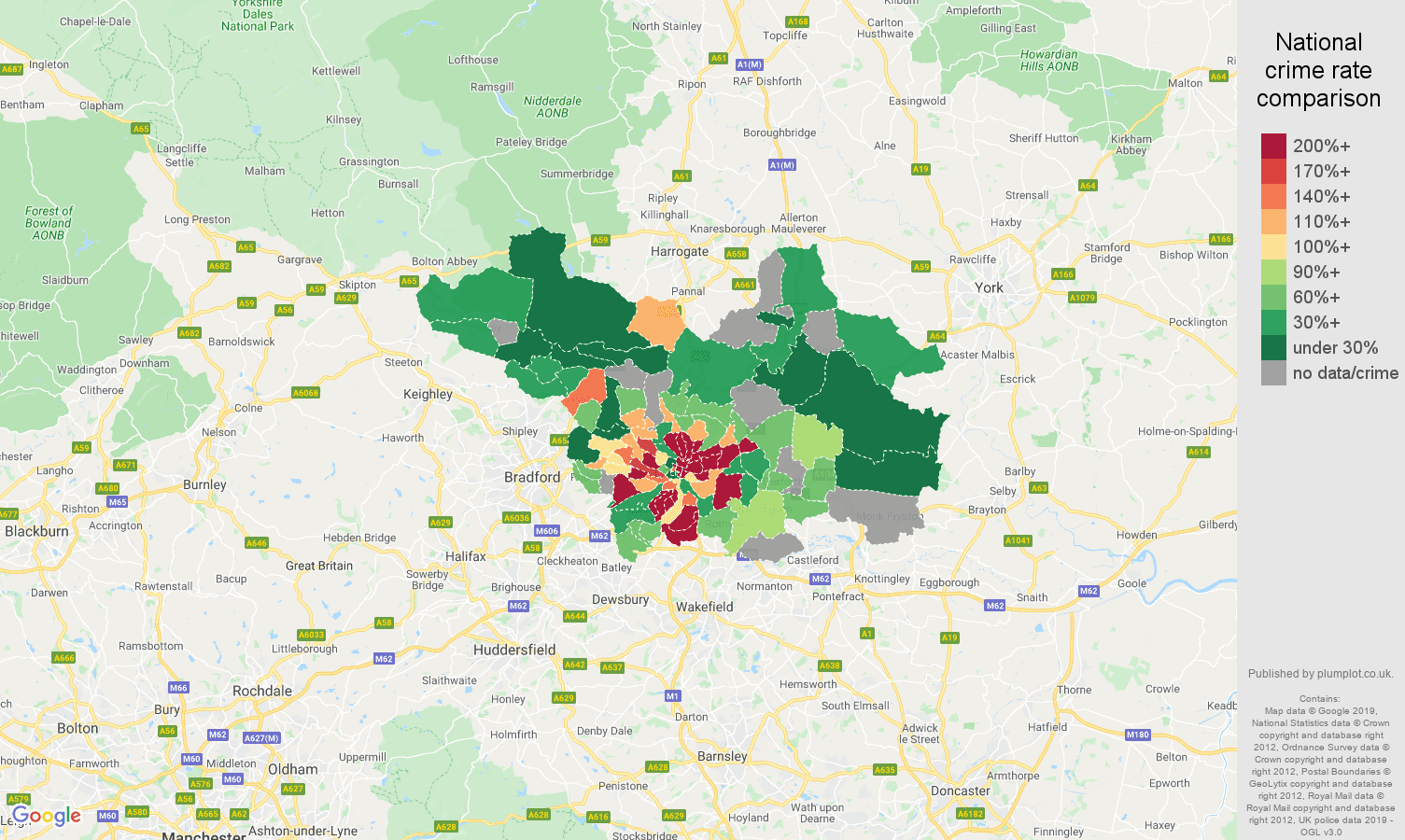 Leeds possession of weapons crime rate comparison map