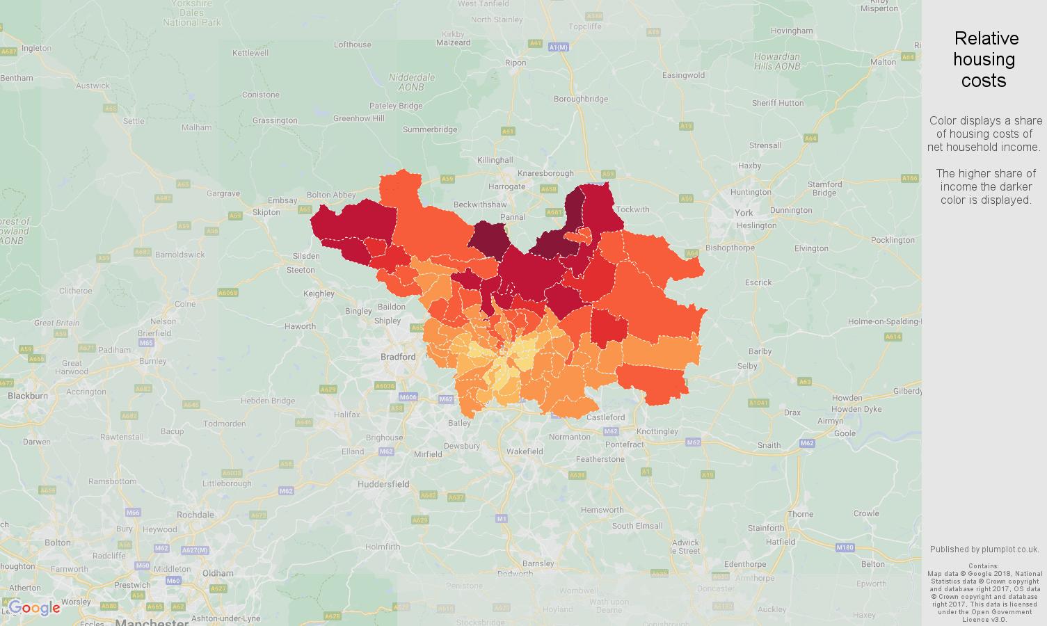 Leeds relative housing costs map