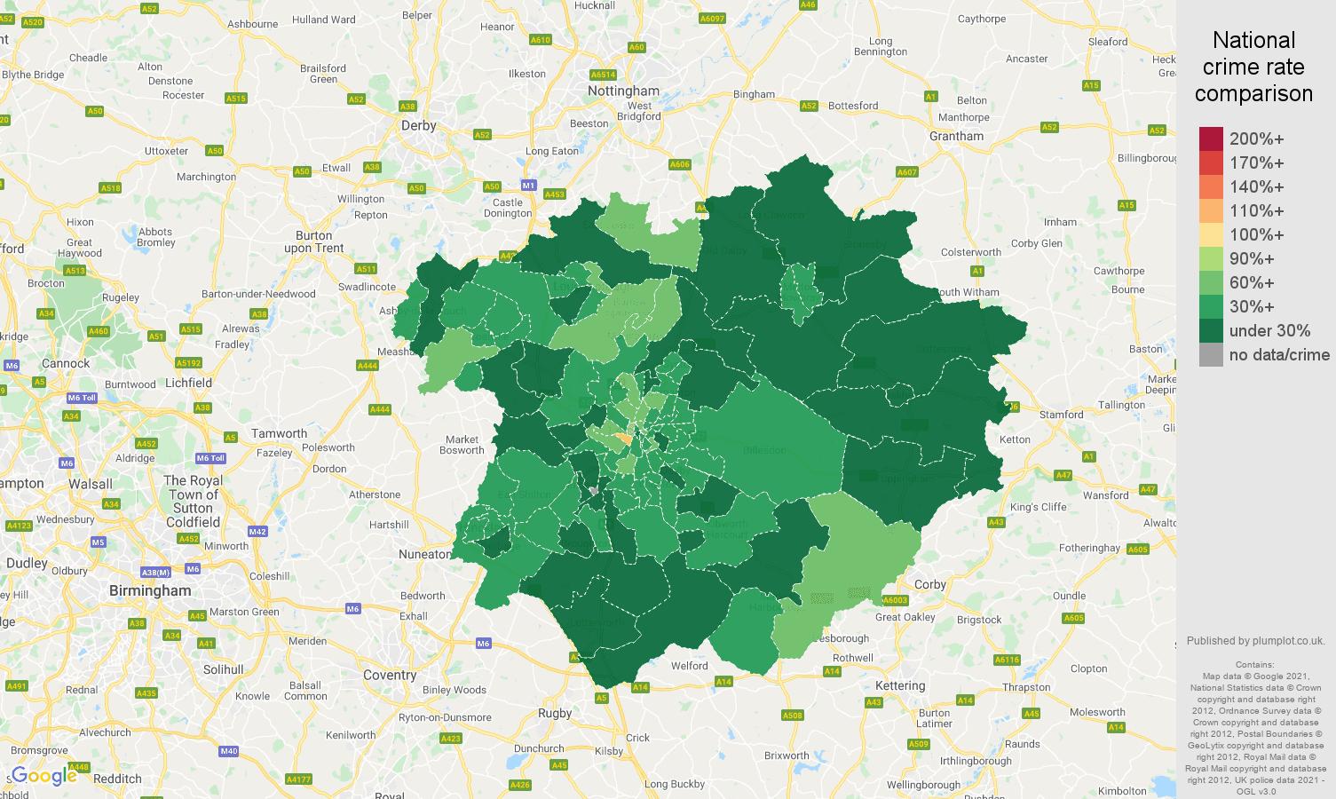 Leicester antisocial behaviour crime rate comparison map