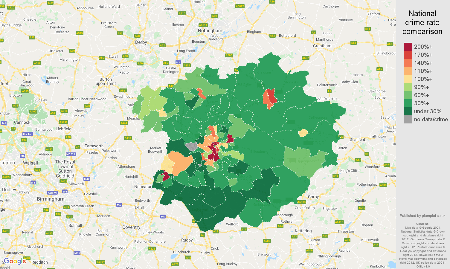 Leicester drugs crime rate comparison map
