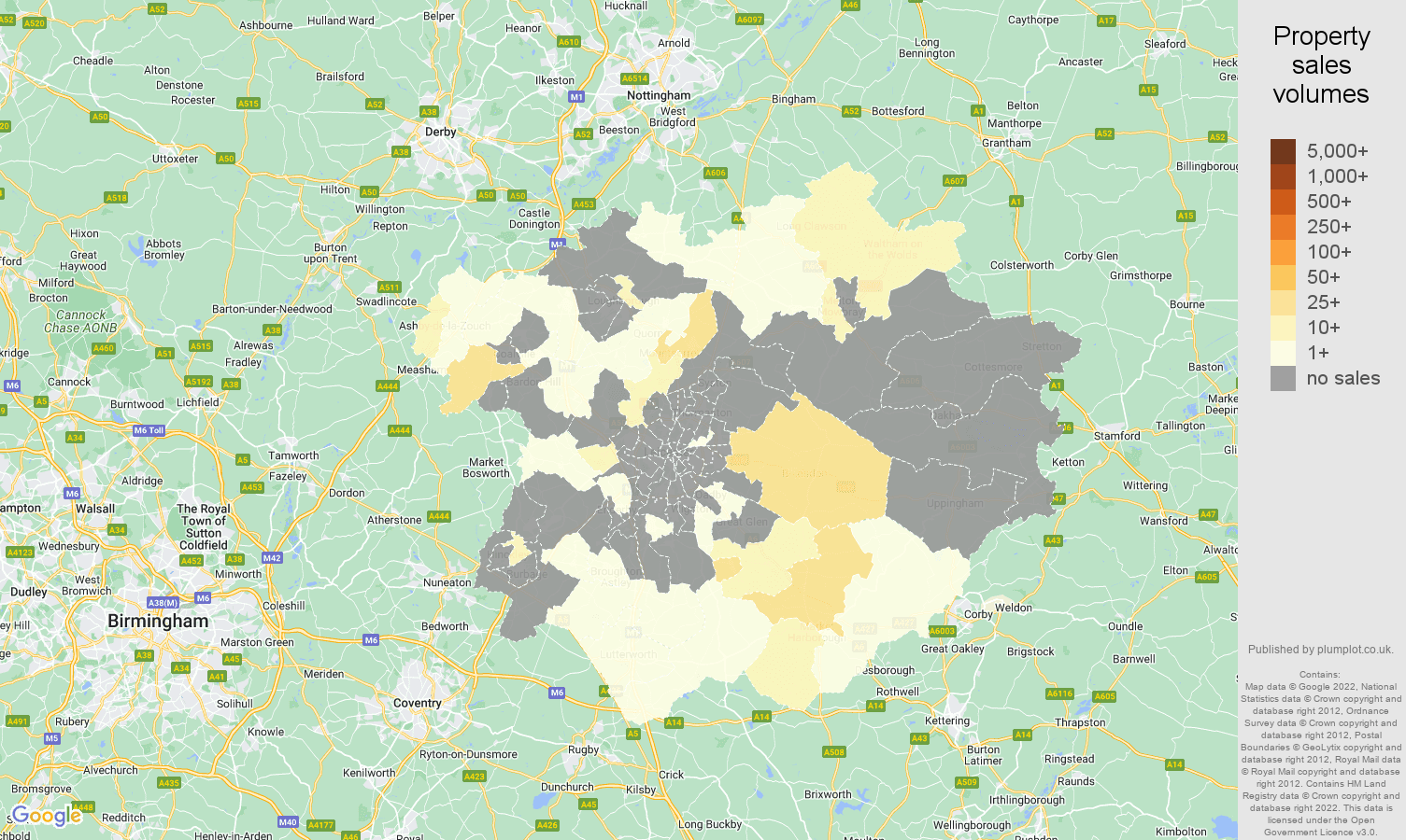 Leicester map of sales of new properties