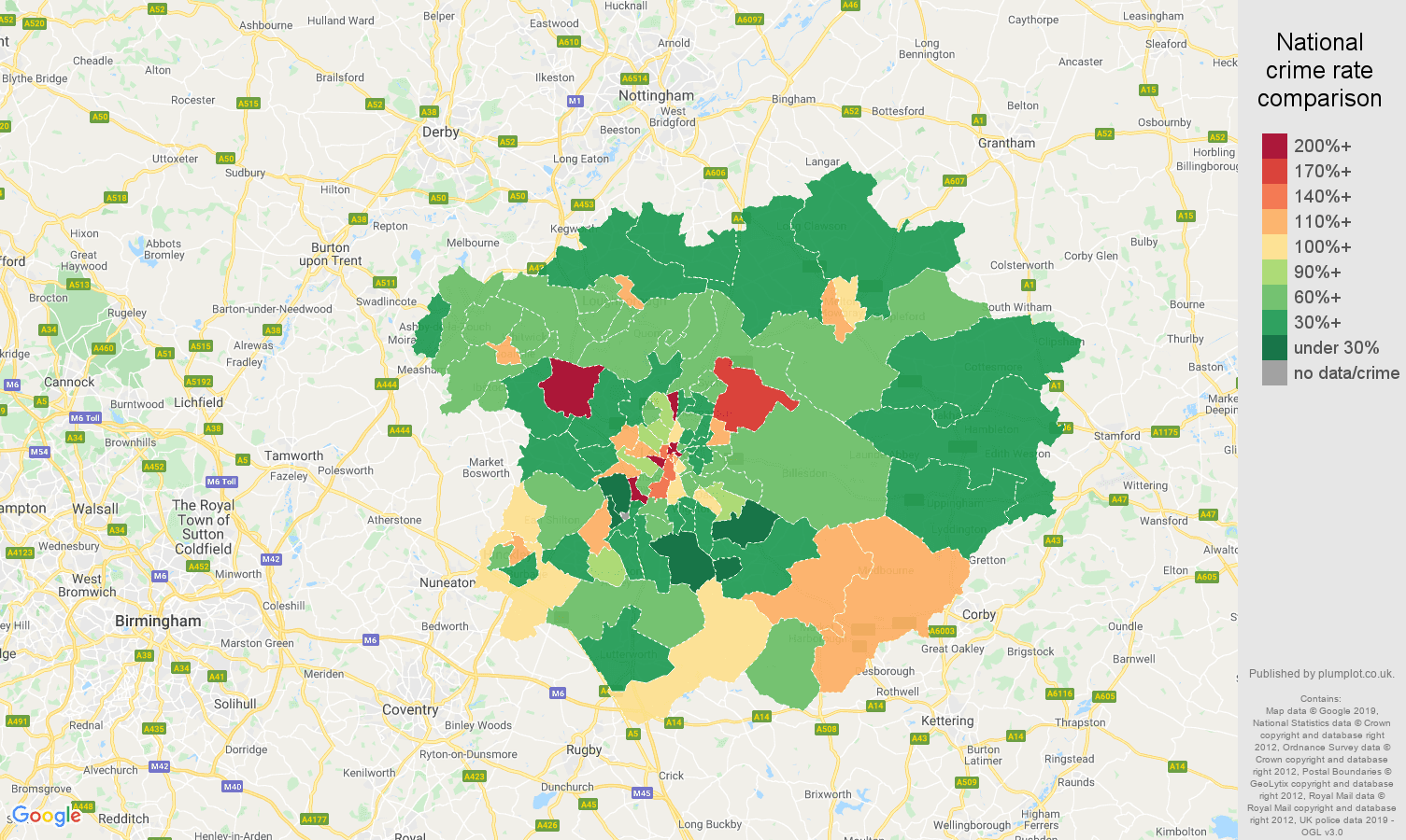 Leicester other theft crime rate comparison map