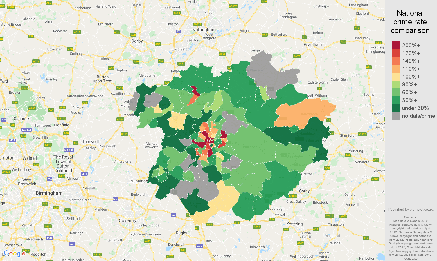 Leicester possession of weapons crime rate comparison map