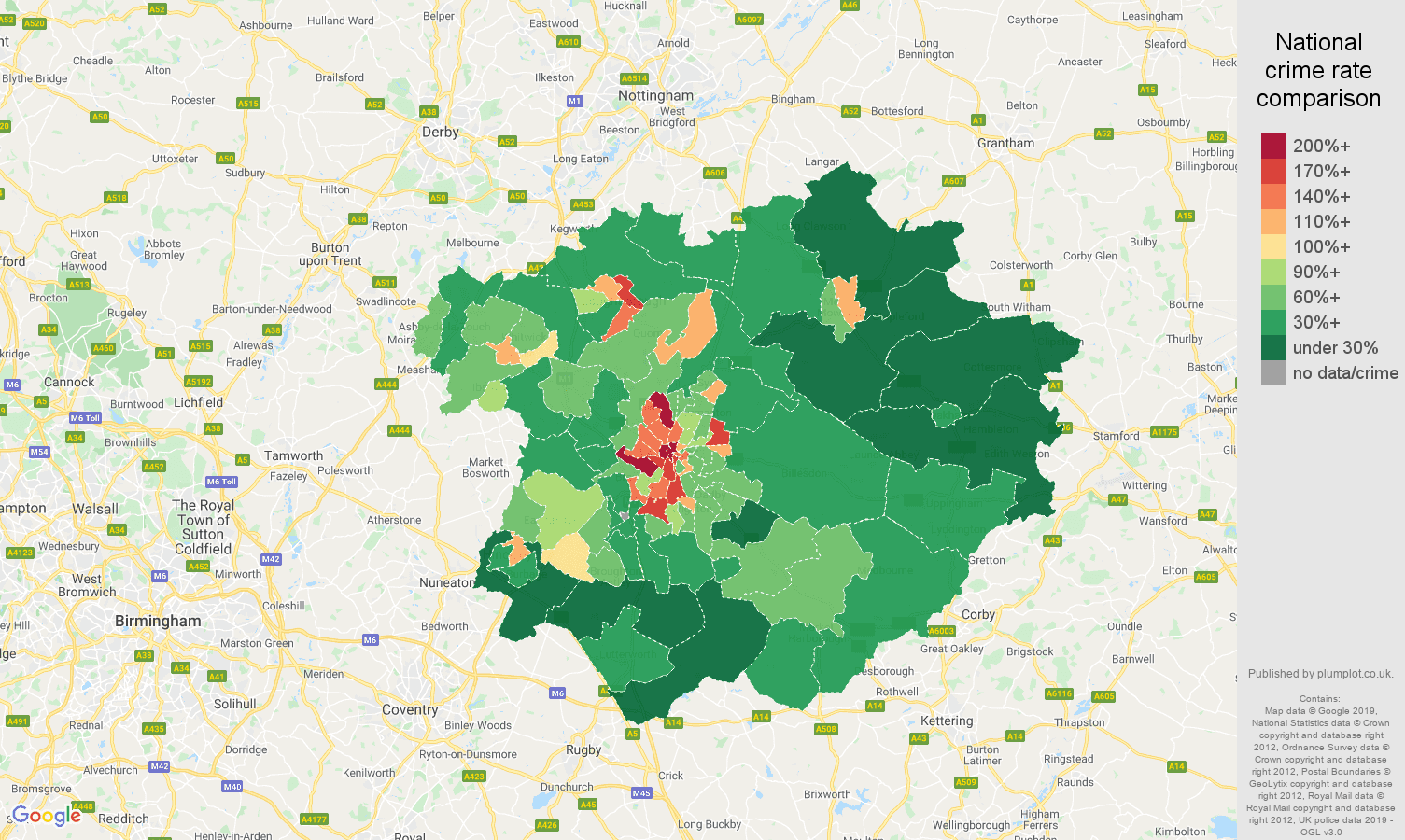 Leicester public order crime rate comparison map