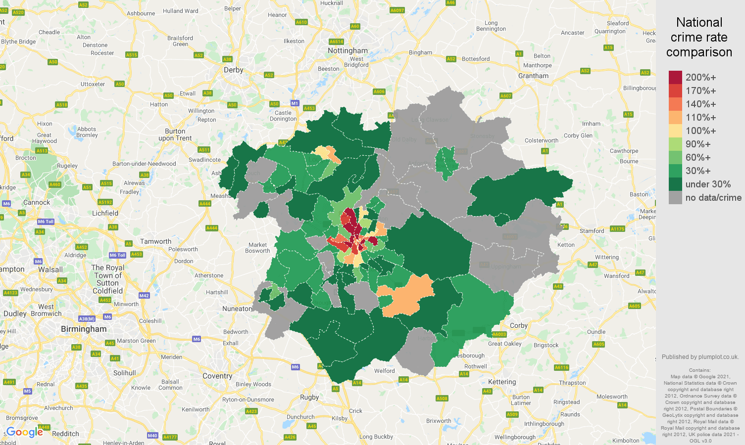 Leicester robbery crime rate comparison map
