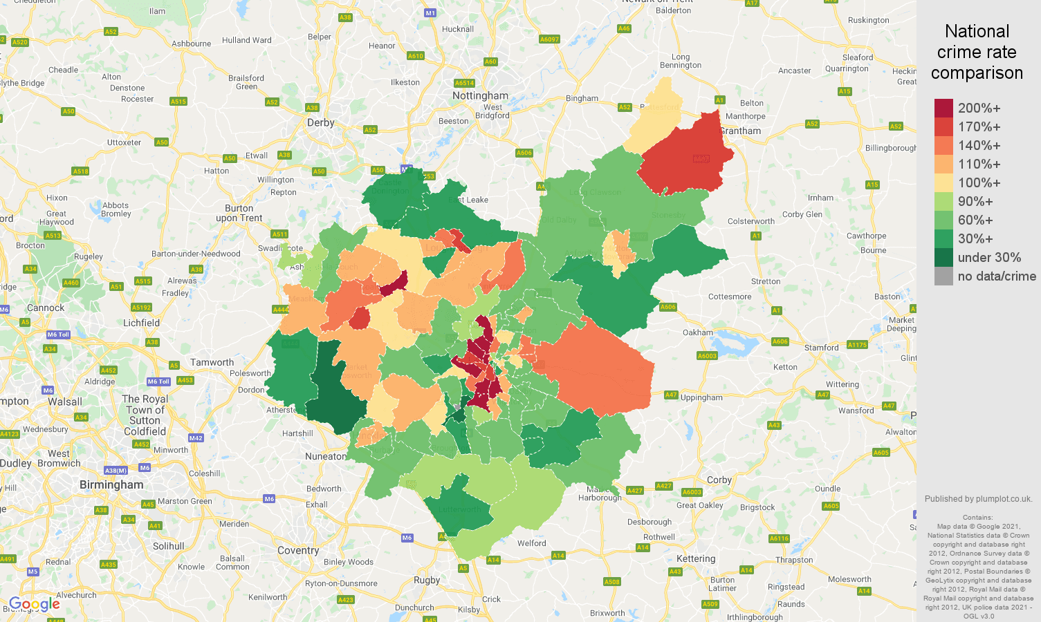 Leicestershire criminal damage and arson crime rate comparison map