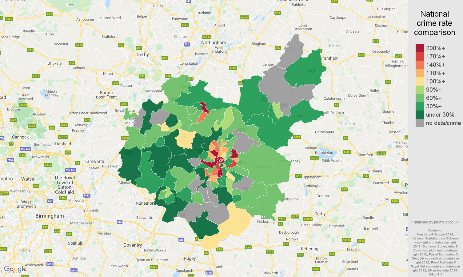 Leicestershire possession of weapons crime rate comparison map