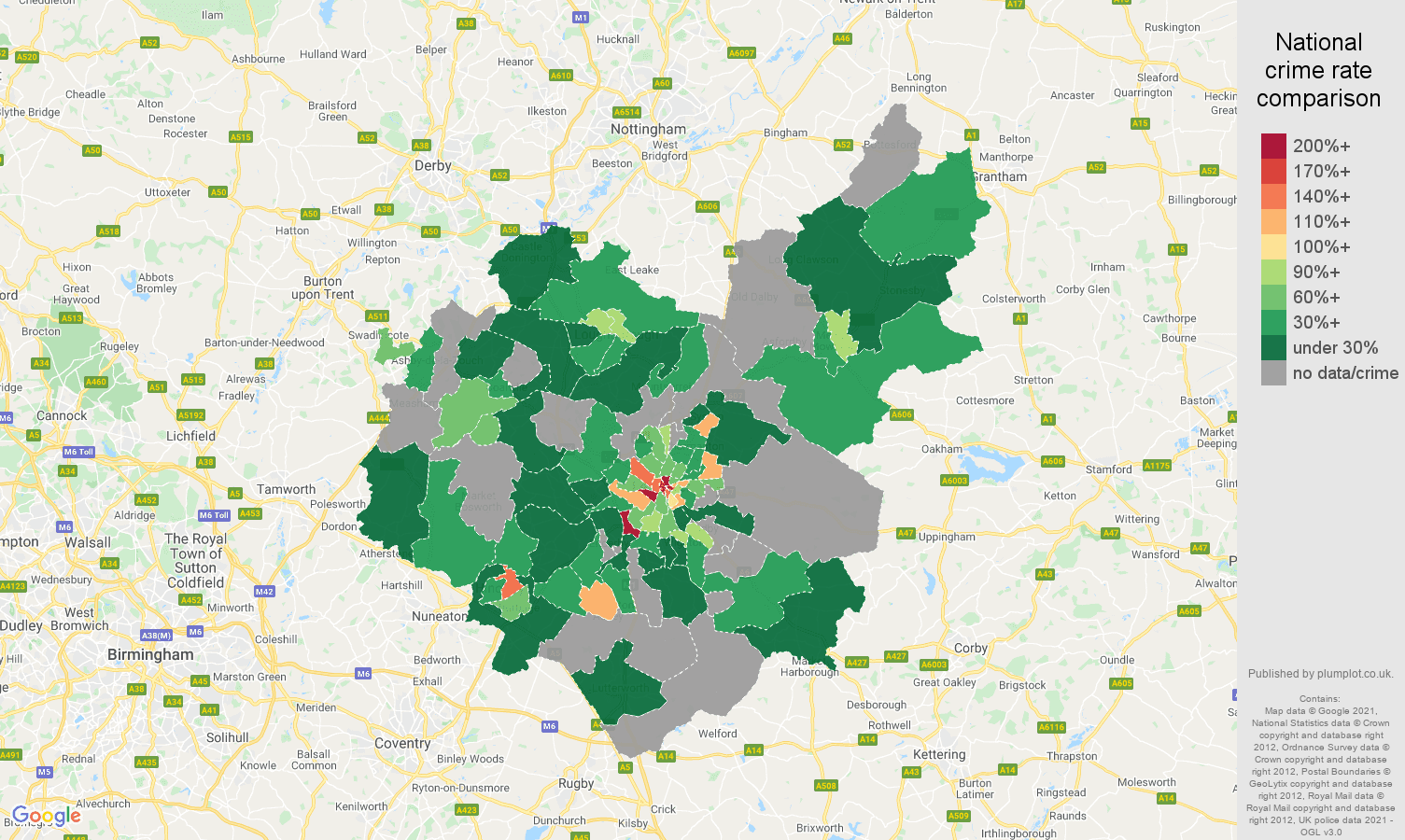 Leicestershire theft from the person crime rate comparison map