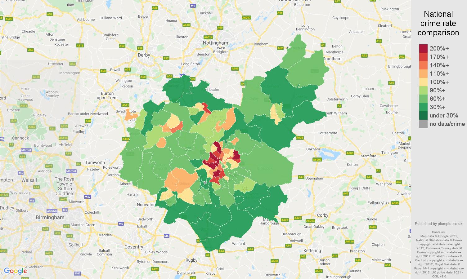 Leicestershire violent crime rate comparison map