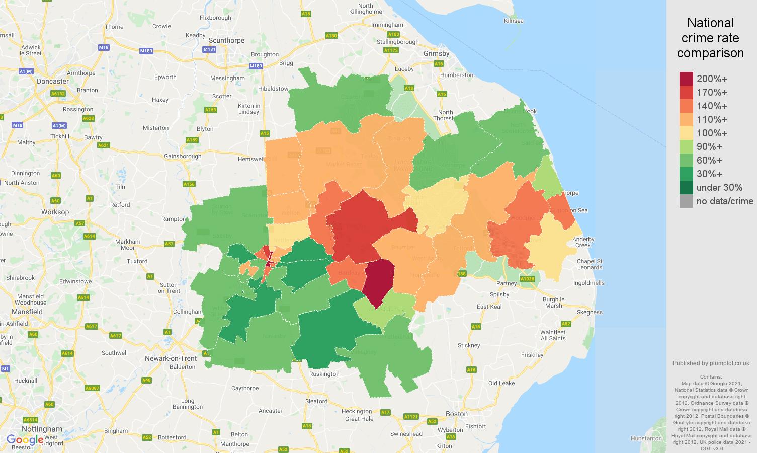 Lincoln burglary crime rate comparison map