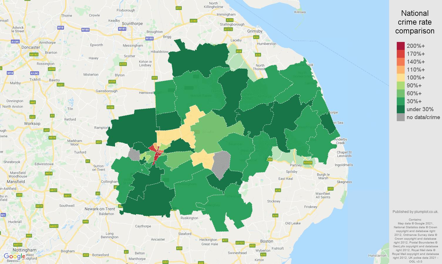 Lincoln drugs crime rate comparison map