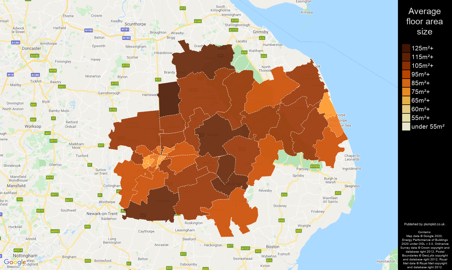 Lincoln map of average floor area size of houses