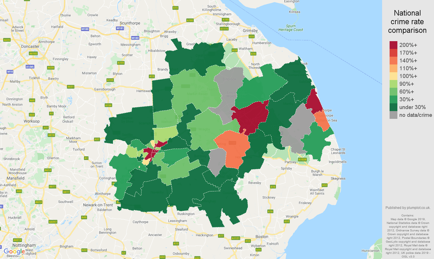 Lincoln shoplifting crime rate comparison map