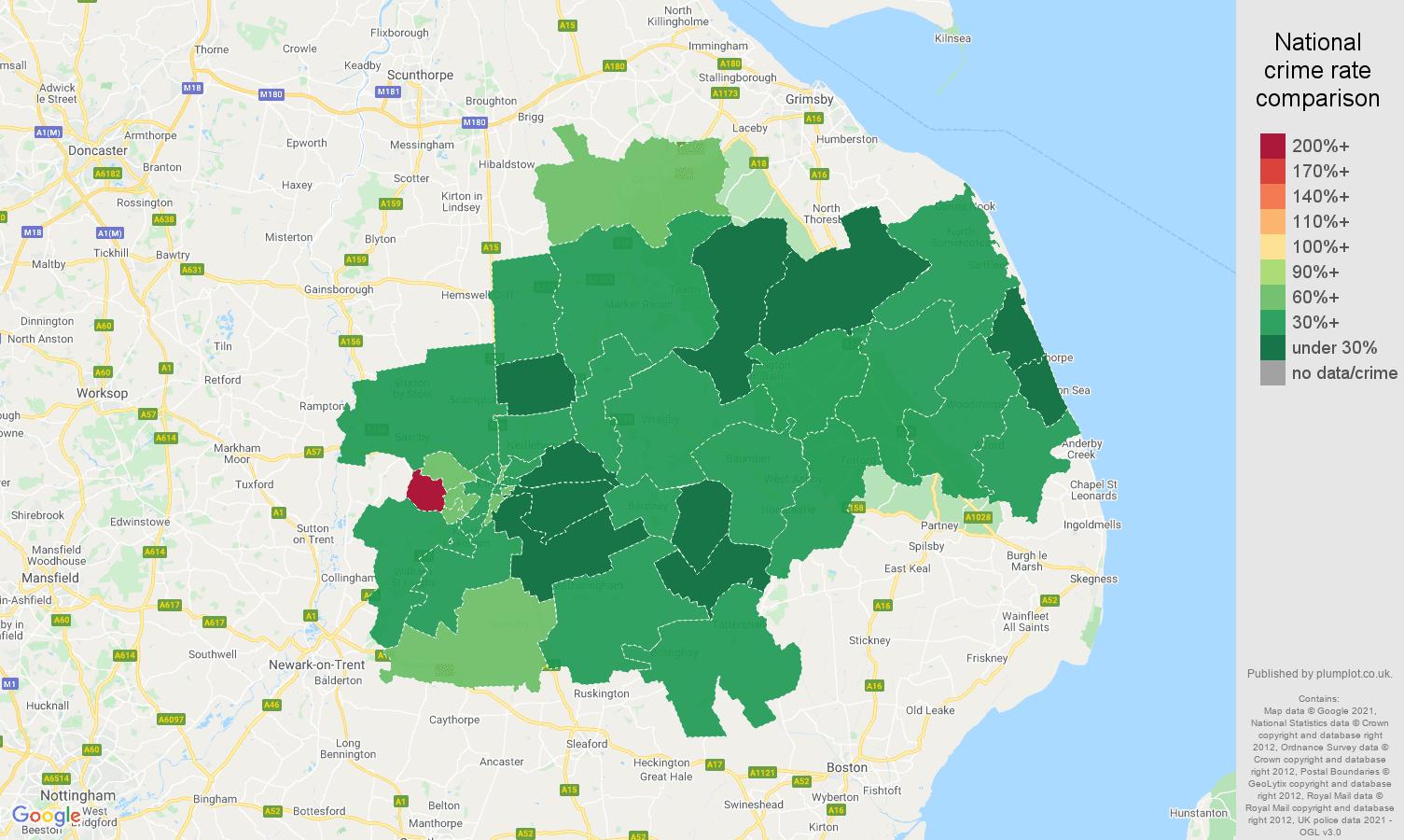 Lincoln vehicle crime rate comparison map