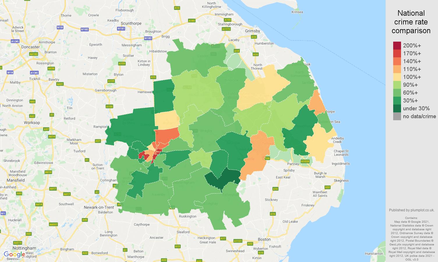 Lincoln violent crime rate comparison map
