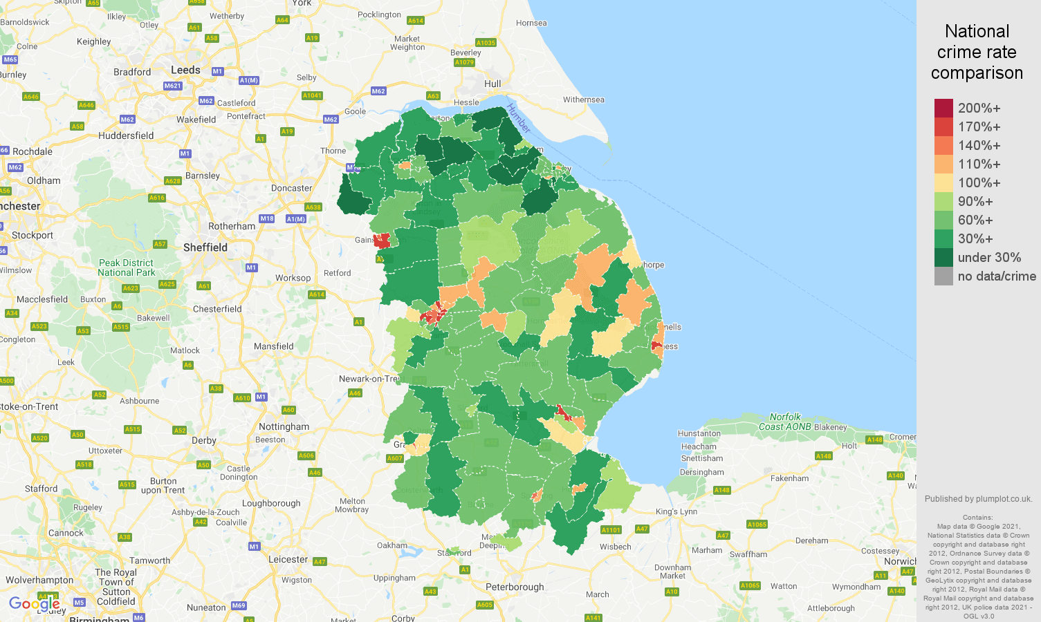 Lincolnshire antisocial behaviour crime rate comparison map