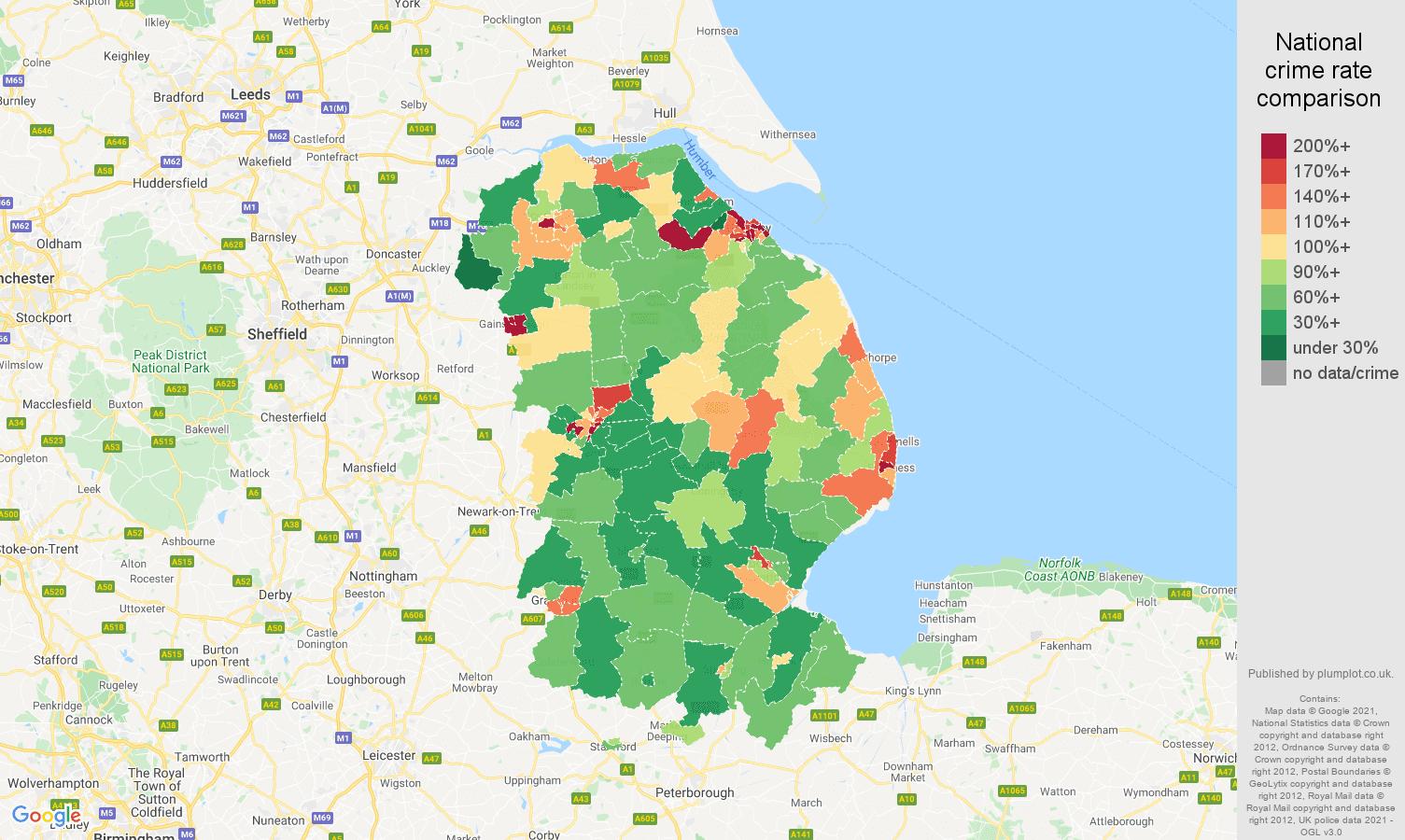 Lincolnshire criminal damage and arson crime rate comparison map