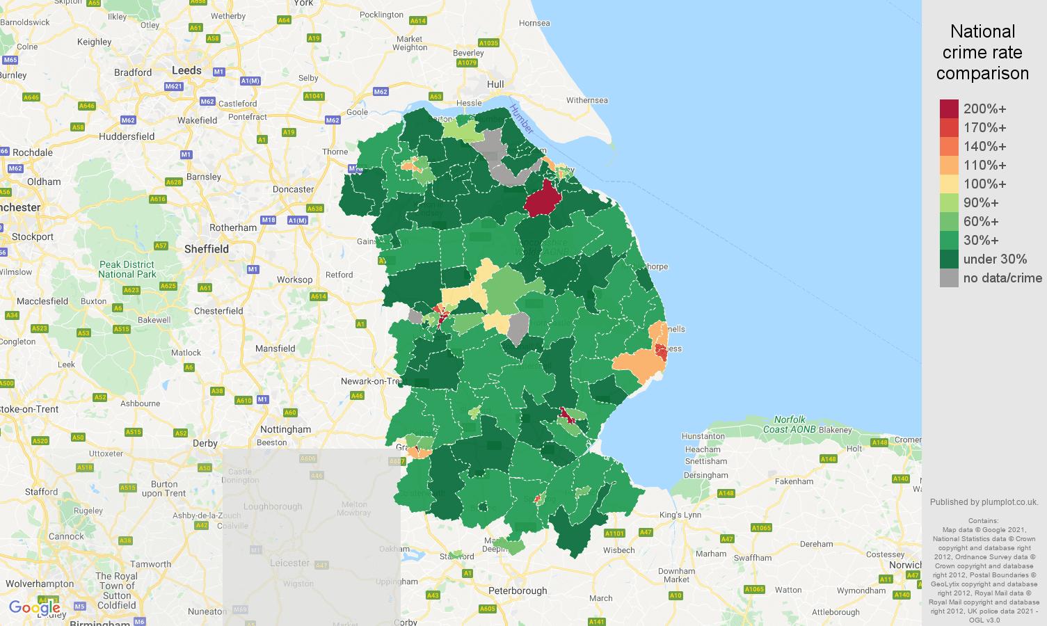 Lincolnshire drugs crime rate comparison map