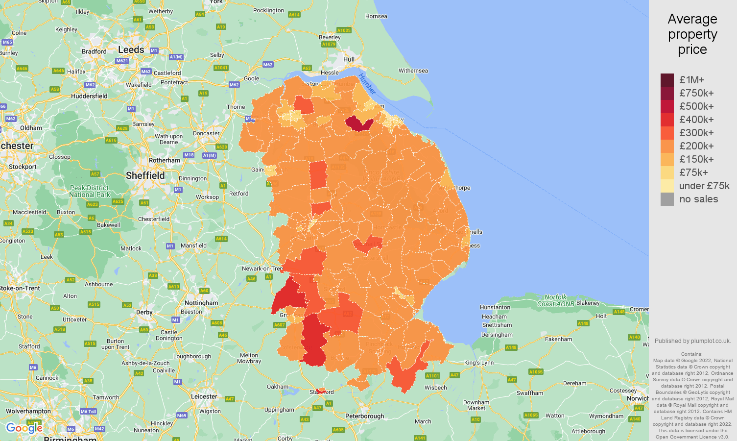 Lincolnshire house prices map