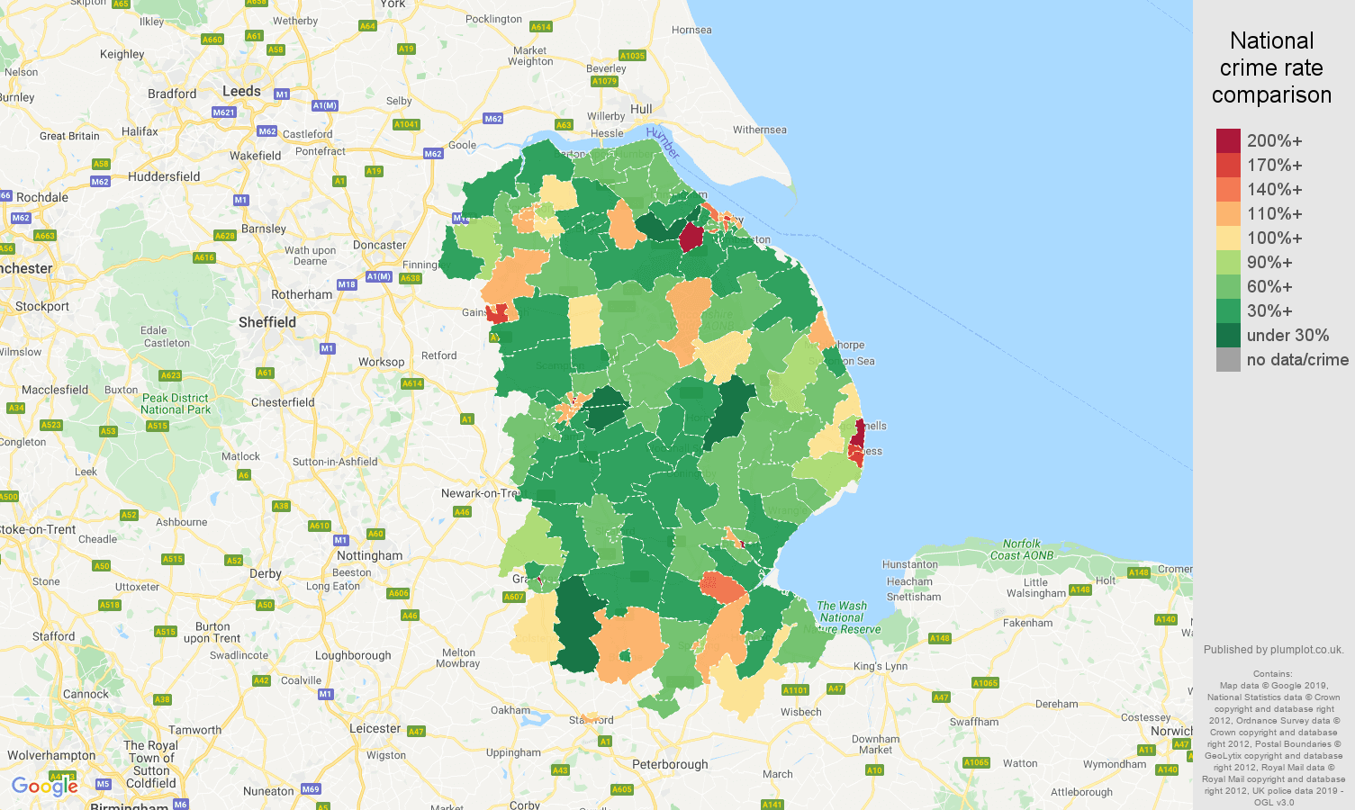 Lincolnshire other theft crime rate comparison map