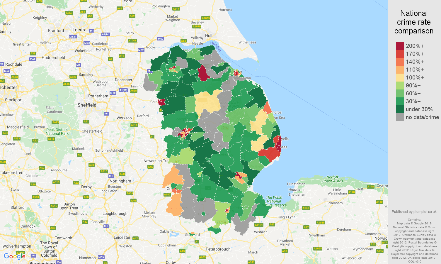 Lincolnshire possession of weapons crime rate comparison map