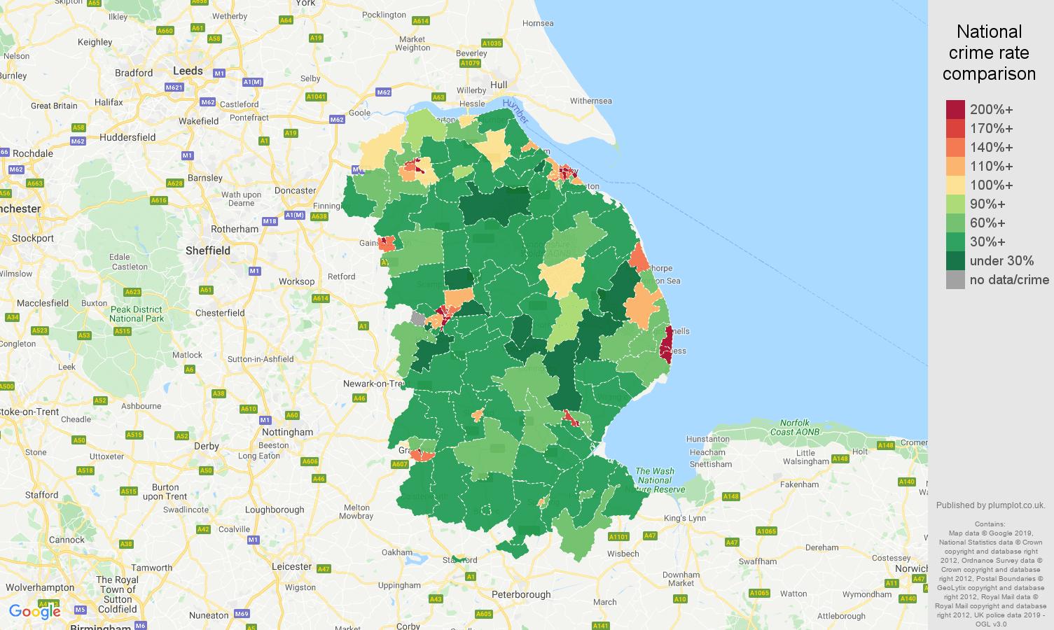 Lincolnshire public order crime rate comparison map