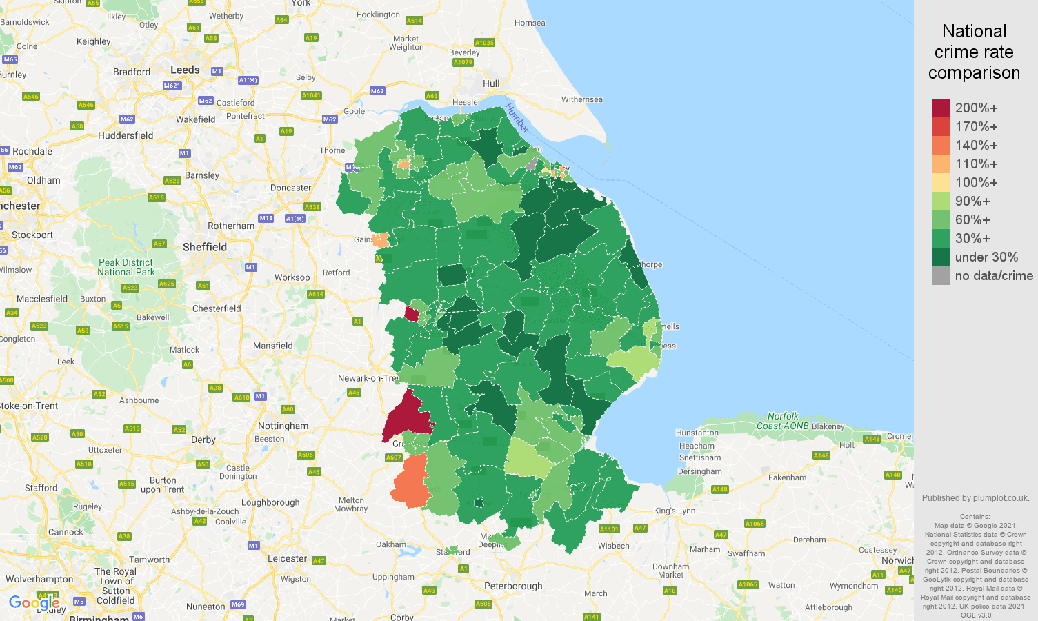 Lincolnshire vehicle crime rate comparison map