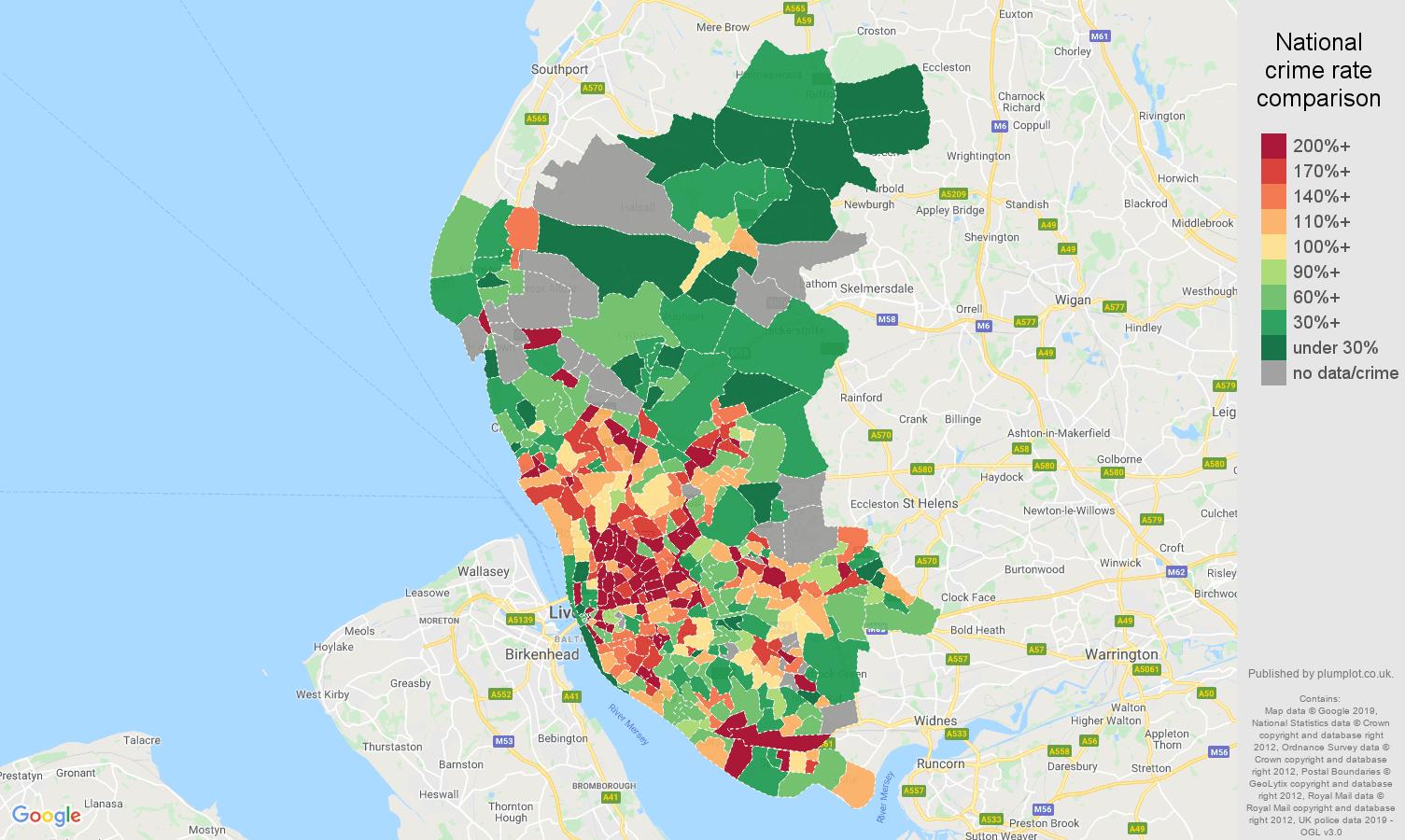 Liverpool public order crime rate comparison map