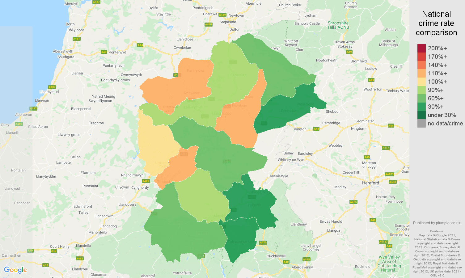 Llandrindod Wells antisocial behaviour crime rate comparison map