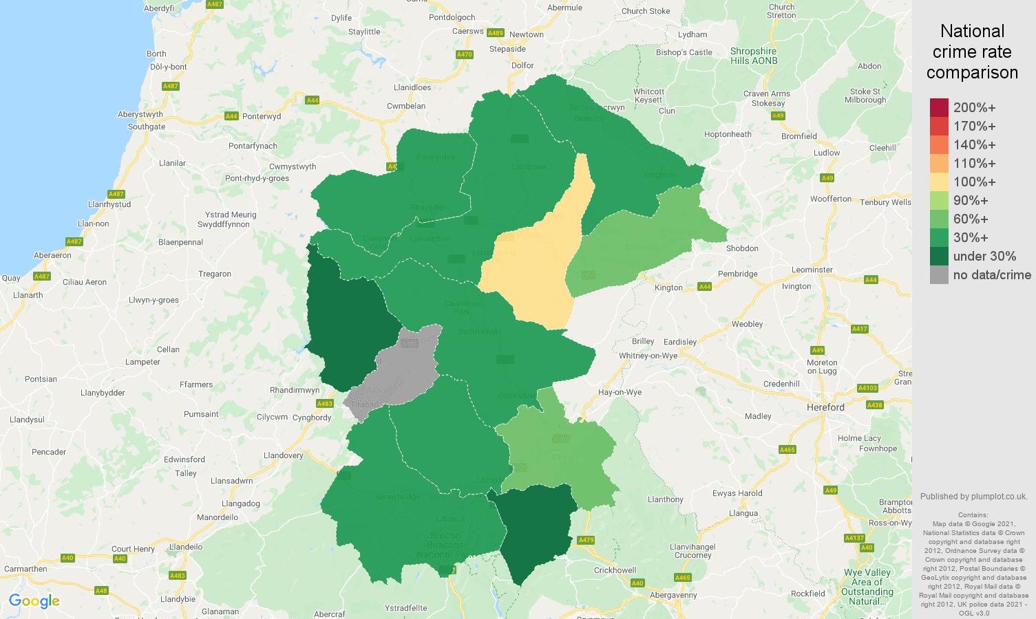 Llandrindod Wells burglary crime rate comparison map