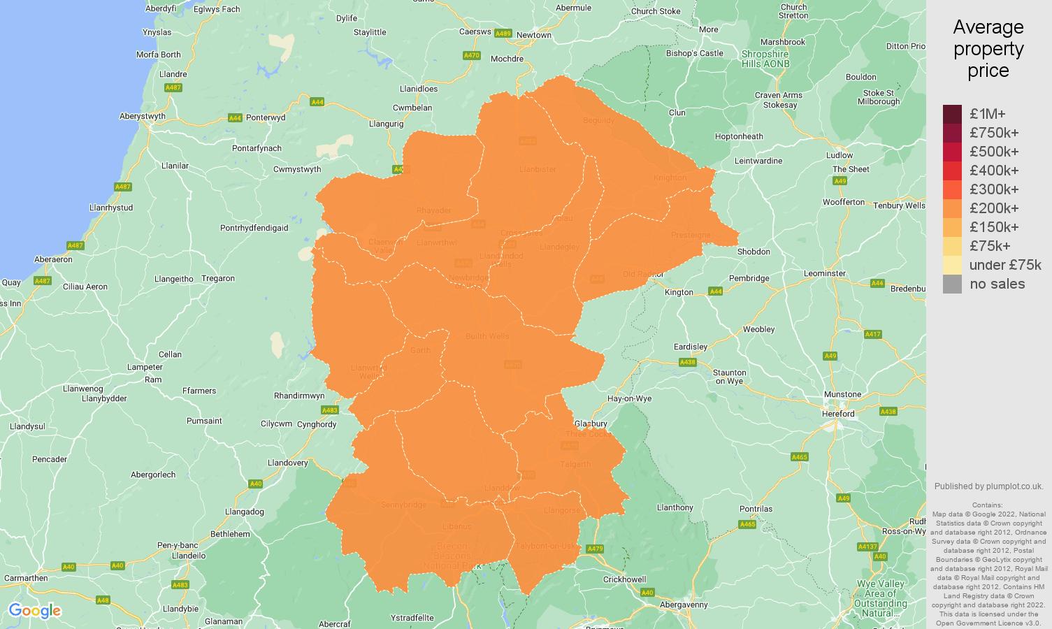 Llandrindod Wells house prices map