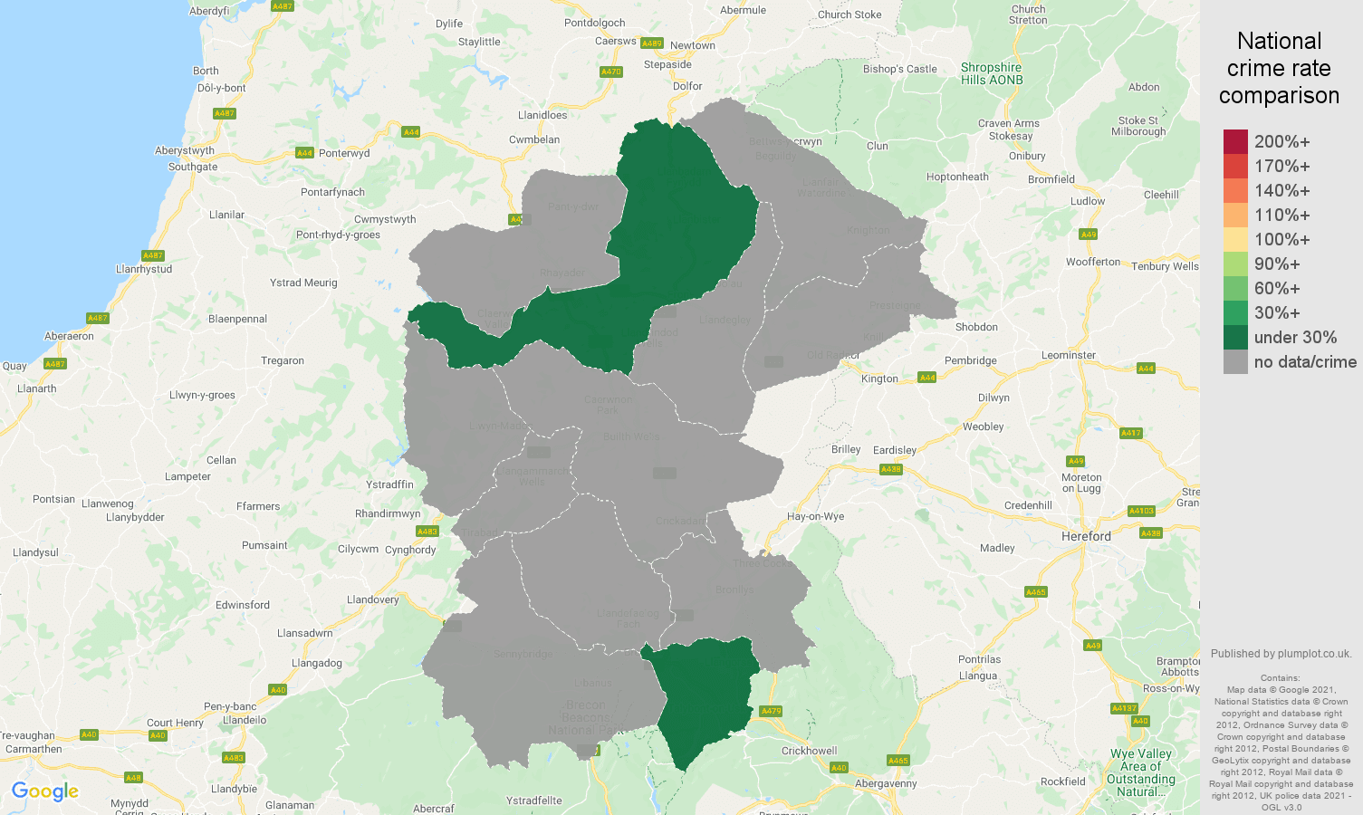 Llandrindod Wells theft from the person crime rate comparison map