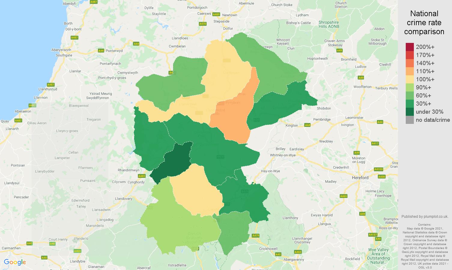 Llandrindod Wells violent crime rate comparison map