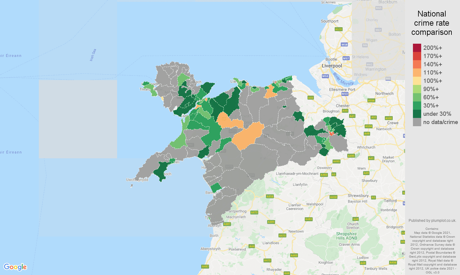 Llandudno bicycle theft crime rate comparison map