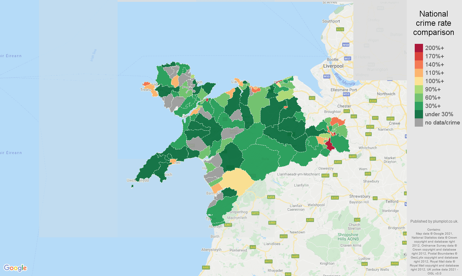 Llandudno drugs crime rate comparison map