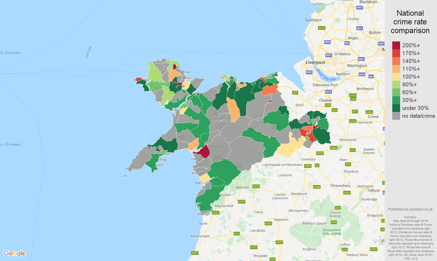 Llandudno possession of weapons crime rate comparison map