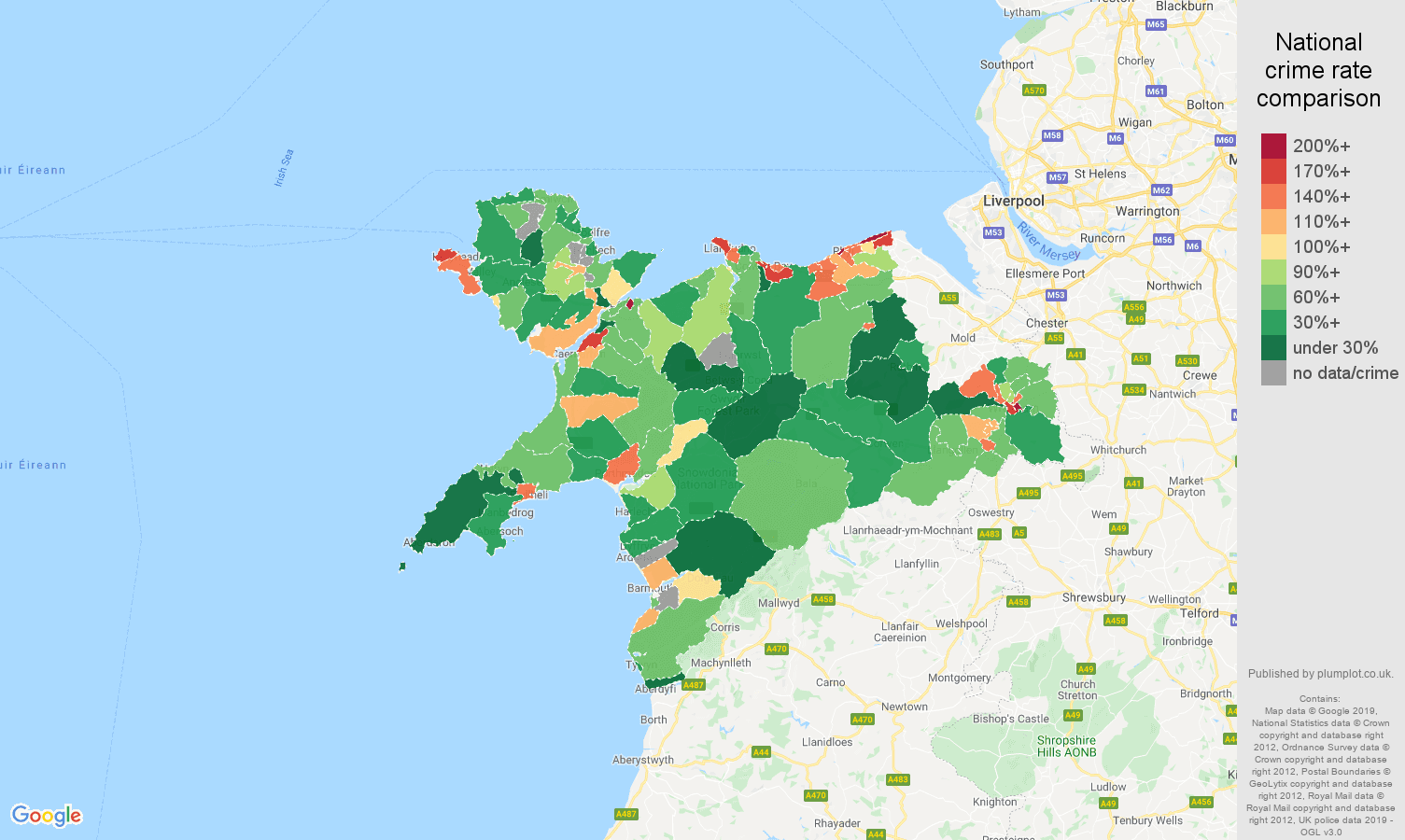 Llandudno public order crime rate comparison map