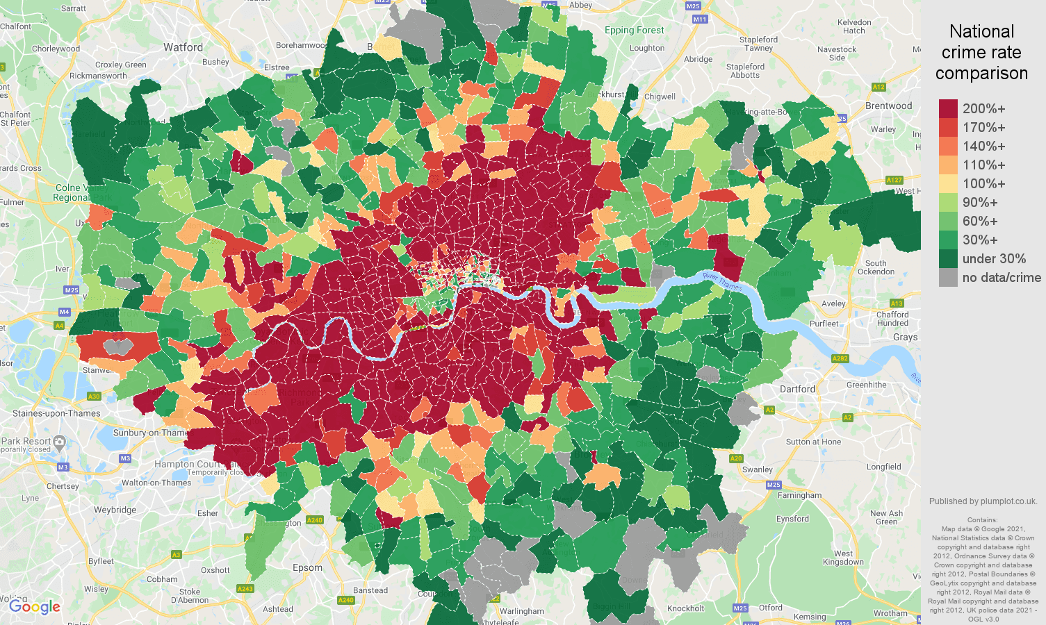 London bicycle theft crime rate comparison map