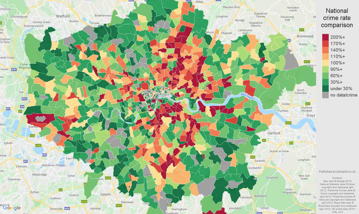 London possession of weapons crime rate comparison map