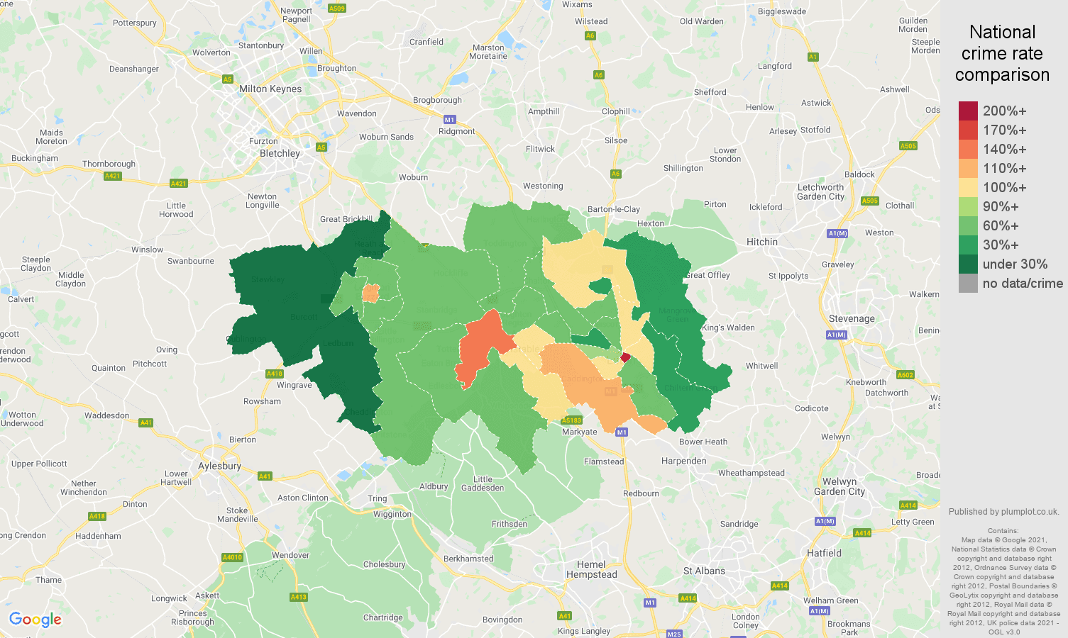 Luton antisocial behaviour crime rate comparison map